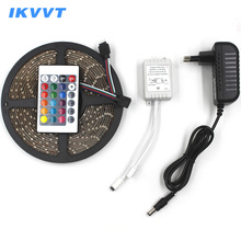 цена на IKVVT LED Strip Light SMD 2835 3528 RGB 60LED/M Waterproof  Flexible Emitting Diode Tape DC 12V LED Ribbon with Power Supply 12V