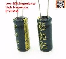 20 шт./лот 6.3 В 1500 мкФ 8*20 Low ESR/импеданс высокой частоты алюминиевый электролитический конденсатор 1500uf6. 3 В 8*20