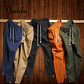 Marca 2017 primavera nueva llegada de los hombres de moda casual pure color delgado para hombre pantalones de chándal hombres joggers pantalones de chándal de algodón pantalones khaki