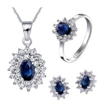 Natural blue sapphire stone wedding jewelry sets natural gemstone ring earrings necklace S925 silver Fashion elegant for Women