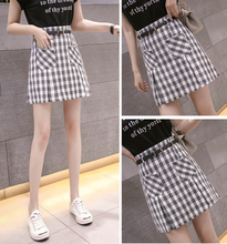 Spring and summer new style Fashion plaid skirt New women's A-line skirt short paragraph