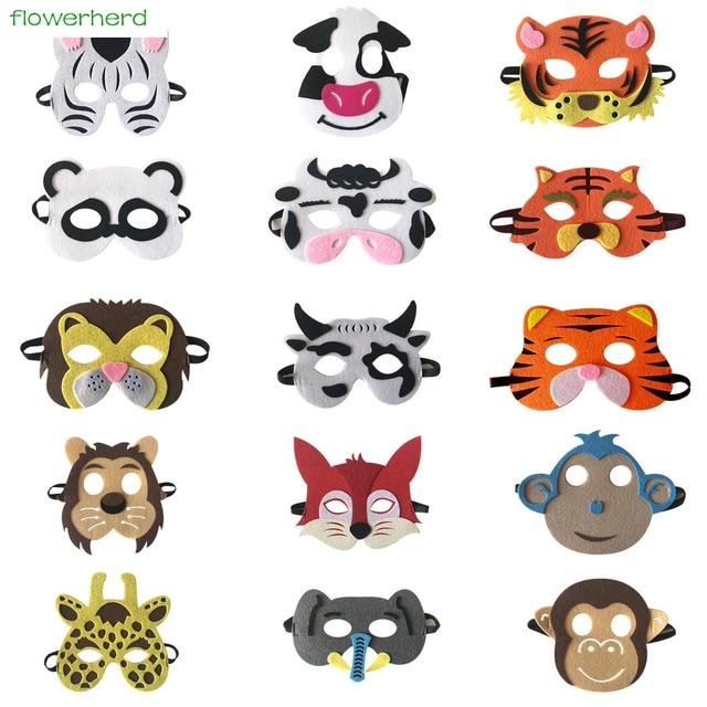 da6de18a409 Cute Animal Masks Face Funny Birthday Zoo Jungle Party Kids Supplies  Halloween Masks Cartoon Dress Up Costume