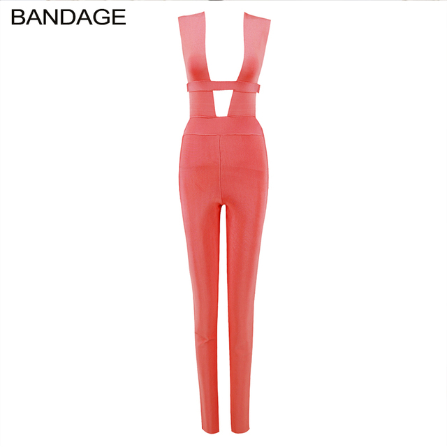New Cheap Jumpsuits for Women 2019 Rompers Womens Bandage Red Jumpsuit Fashion  Nova Slim Romper Sexy 2c2701ea9897