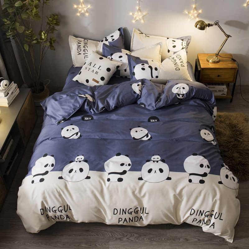Милое животное панда шаблон пододеяльник 3/4 шт постельных принадлежностей для взрослых детей Детское Мягкое хлопковое постельное белье один полный королева король размер 2 м