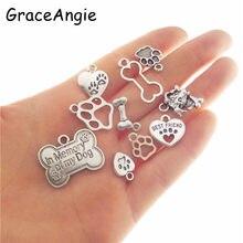 8adac335c608 10 piezas perro encantos colgante collar hueso de perro Pet tag forma  Animal forma del pie accesorios de la joyería del corazón .