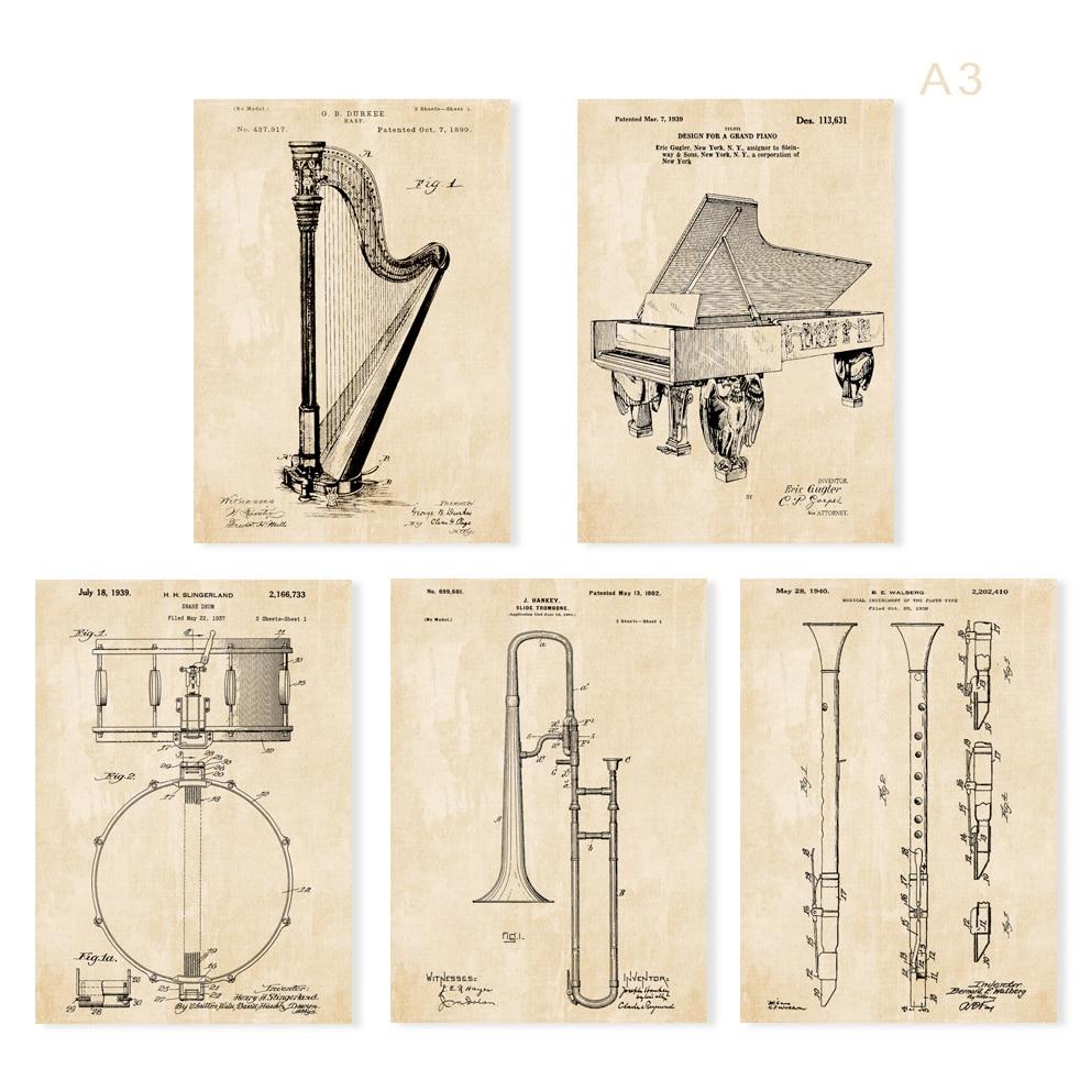 Paten antik, Instrumen seni, G1 poster set 5 in 1 pembibitan pesawat - Dekorasi rumah - Foto 1