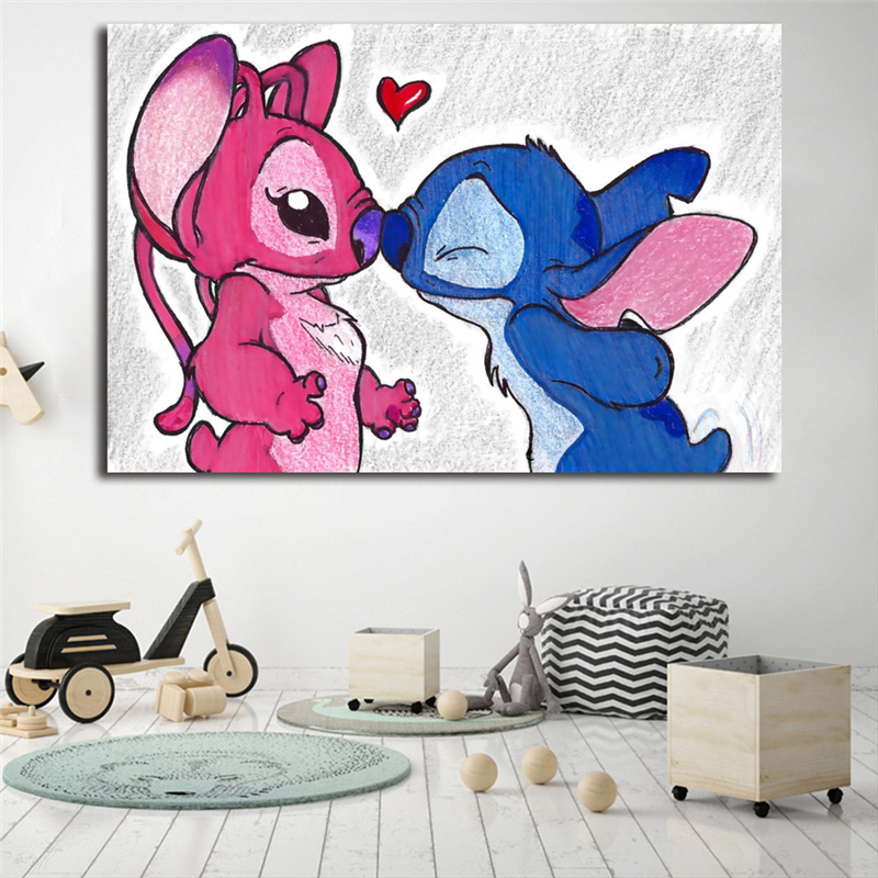 Stitch And Angel Motivational Wall Art Canvas Nordic Posters Prints Painting Wall Pictures For Office Bedroom Home Decor Artwork in Painting Calligraphy from Home Garden