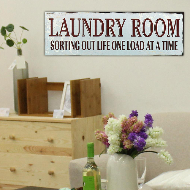 Laundry Room Letters Wooden Signs Plaques Board Wall Hanging Notice Plank Panel Warning Wood Sign