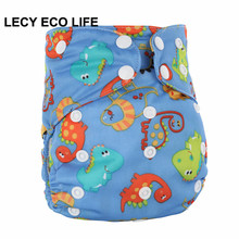 LECY ECO LIFE PUL printed all in one cloth diaper with double bamboo terry flaps, AIO adjustable size reusable baby nappy(China)