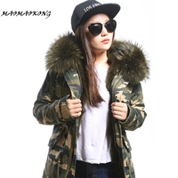 2017 Women Winter Parka Military Camouflage Large Raccoon Fur Collar Hooded Coat Outwear Real Fox Fur