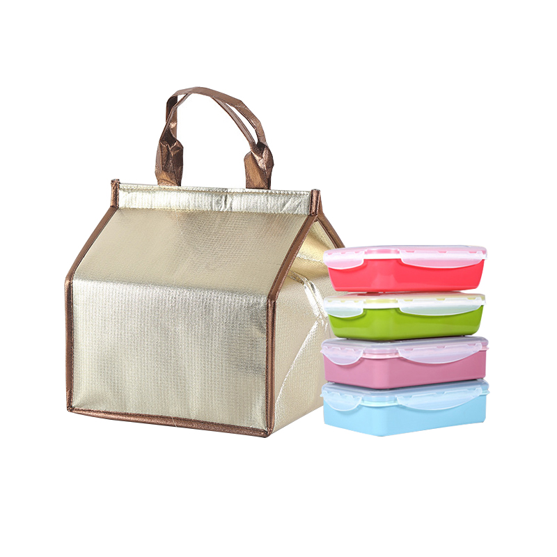 Gold Insulated Picnic Cooler Bags Cake Pizza Lunch Picnic Box Insulated Cool Handbags Ice Pack Thermo Portable Insulation Pouch 8l portable peva lunch bag shawls picnic box thermos package bolso cooler insulated cool bags can cooler bolso frio ice package