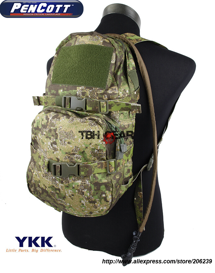 TMC Modular Assault Pack W/3L Hydration Bladder PenCott GreenZone MOLLE Military Hydration Backpack+Free shipping(SKU12050044) camouflage hydration pack multi functional camouflage tactics backpack military hydration packs molle backpack s56
