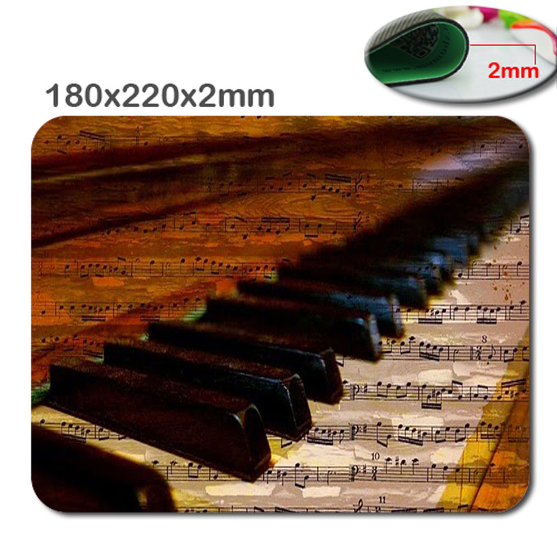 220x180x2mm Decorative Mouse Pad Piano Keys Music Notes Print Rectangle Non-Slip Mousepad Gaming Laptop PC Notebook Mouse Pad