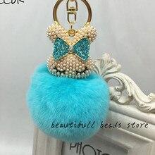 CCOR NEW Rabbit Fur Fluffy keychain Full Rhinestone Rabbit Head keychain car bag accessories,1pcs,MQ0047