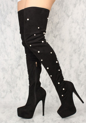Black Flock Leather White Pearls Decoration Winter Boots Fashion Over The Knee High Heel Booties Side Zipper Platform ShoesBlack Flock Leather White Pearls Decoration Winter Boots Fashion Over The Knee High Heel Booties Side Zipper Platform Shoes