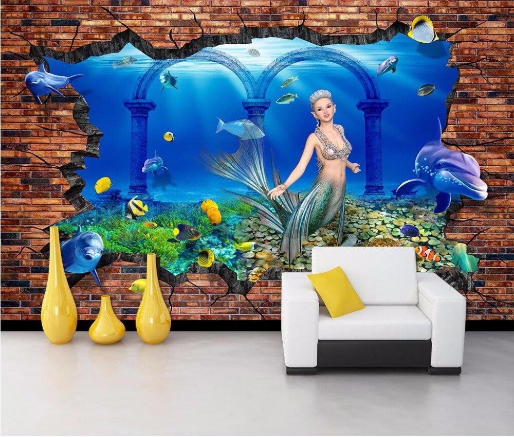 Compra mural de pared de la sirena online al por mayor de for Decoracion hogar 3d