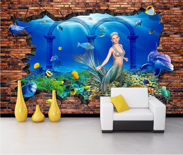 Custom Mural 3d Room Wallpaper Undersea World Mermaid Wall Papers Home Decor  Painting 3d Wall Murals