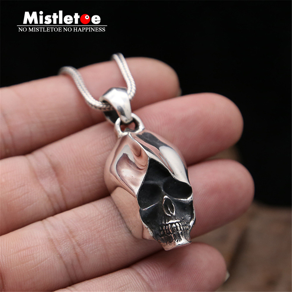 Genuine 925 Sterling Silver Vintage Punk Locomotive Lucky Skull Pendant For Women Men Necklace Jewelry Thai