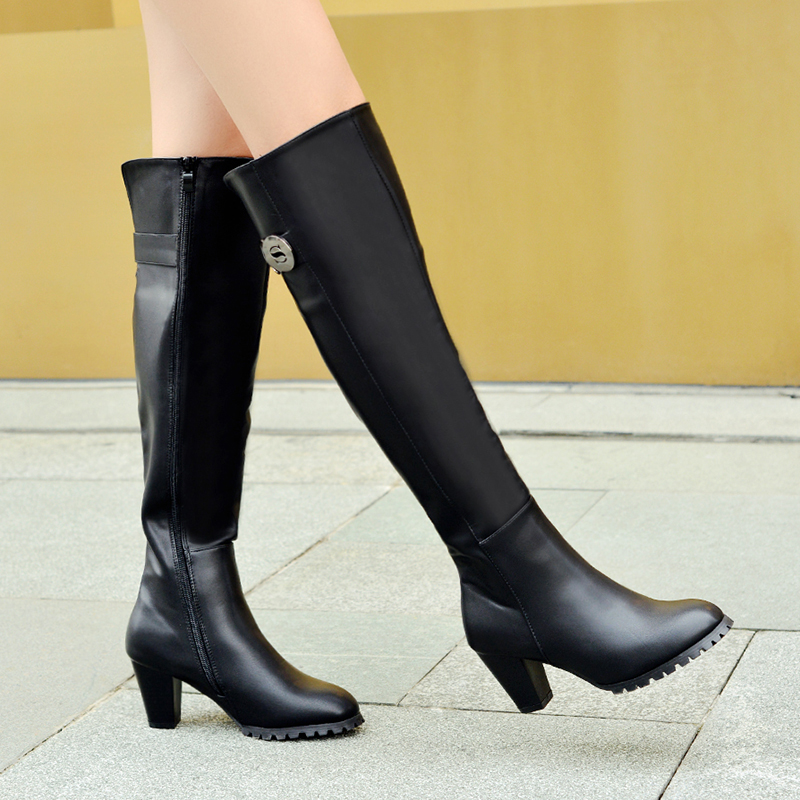 cb497e827 Altos Suave Las Negro Zapatos Botas Qc1199 Viento Los Moda Invierno Tacones  Cuero Primavera Medio De Black 2019 Invierno Caliente Cuadrado A Prueba  Mujeres ...