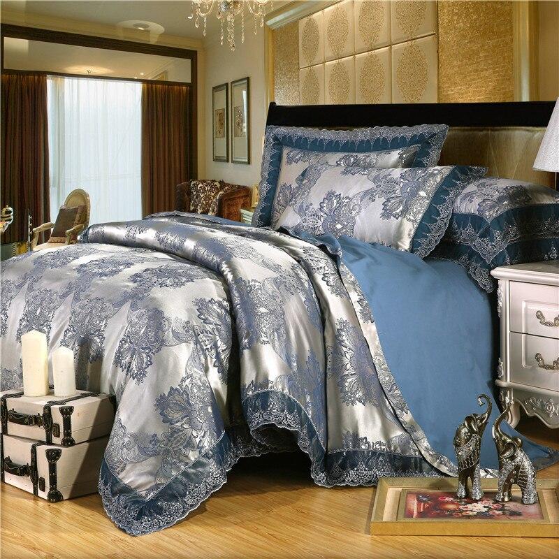 2019 hot Luxury Jacquard Bedding Set King Queen Size 4pcs Bed Linen Silk Cotton Duvet Cover Lace Satin Bed Sheet Set Pillowcases