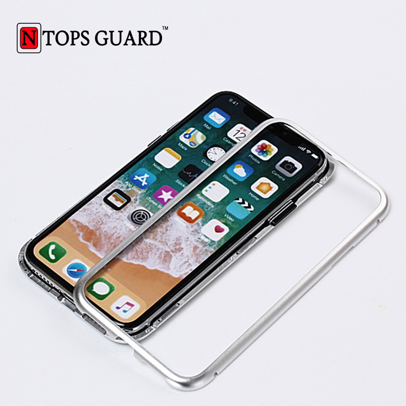 NTOPS GUARD For iPhone X Aluminum Magnetic Case 2018 Luxury Shockproof Magnetic Bumper Cover For iPhone 6s Plus Hard Case Magnet