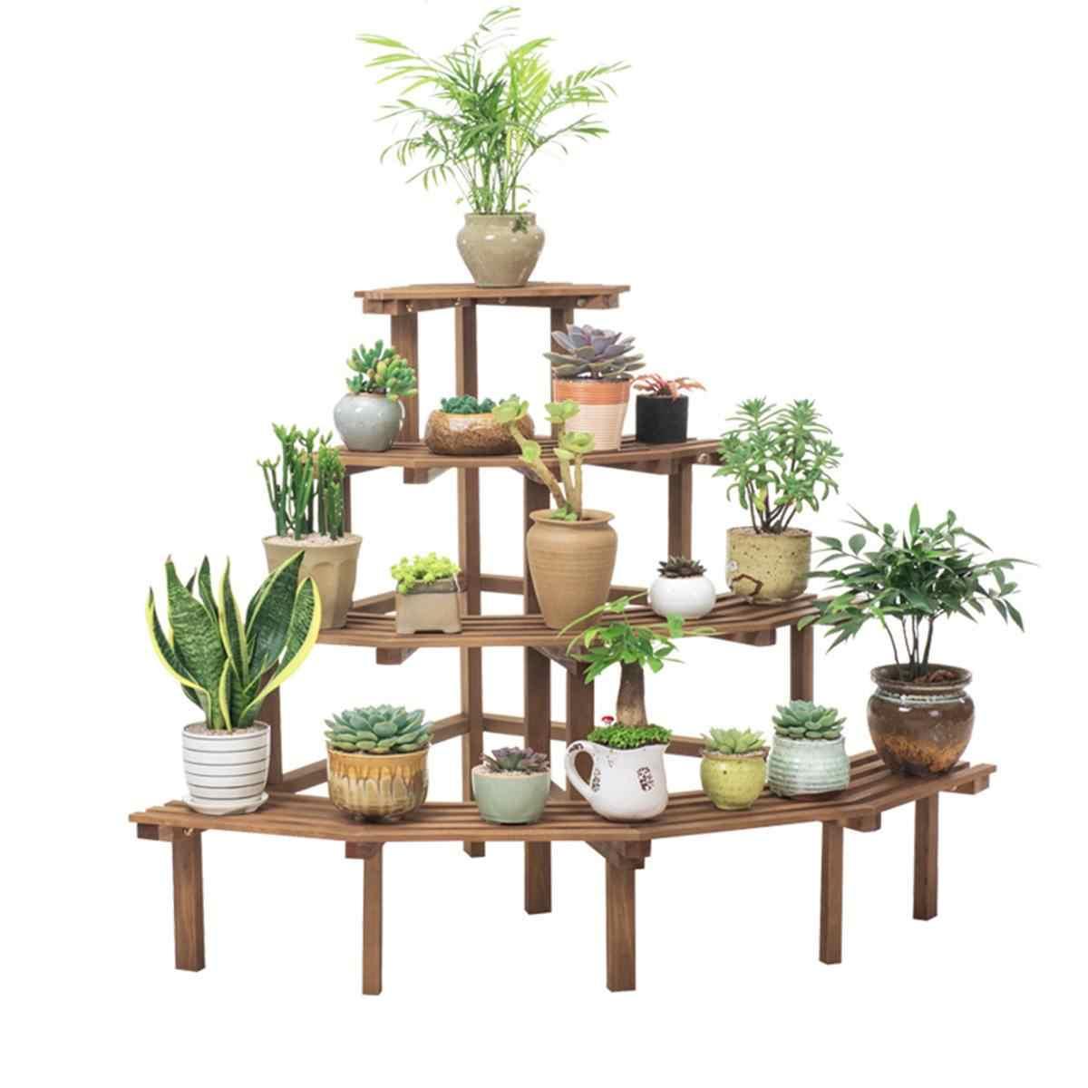 8 أنواع الخشب الطبيعي النباتات حامل زهرة وعاء رف شاشة متعددة طبقة حديقة شرفة الباحة الغراس التخزين المنظم