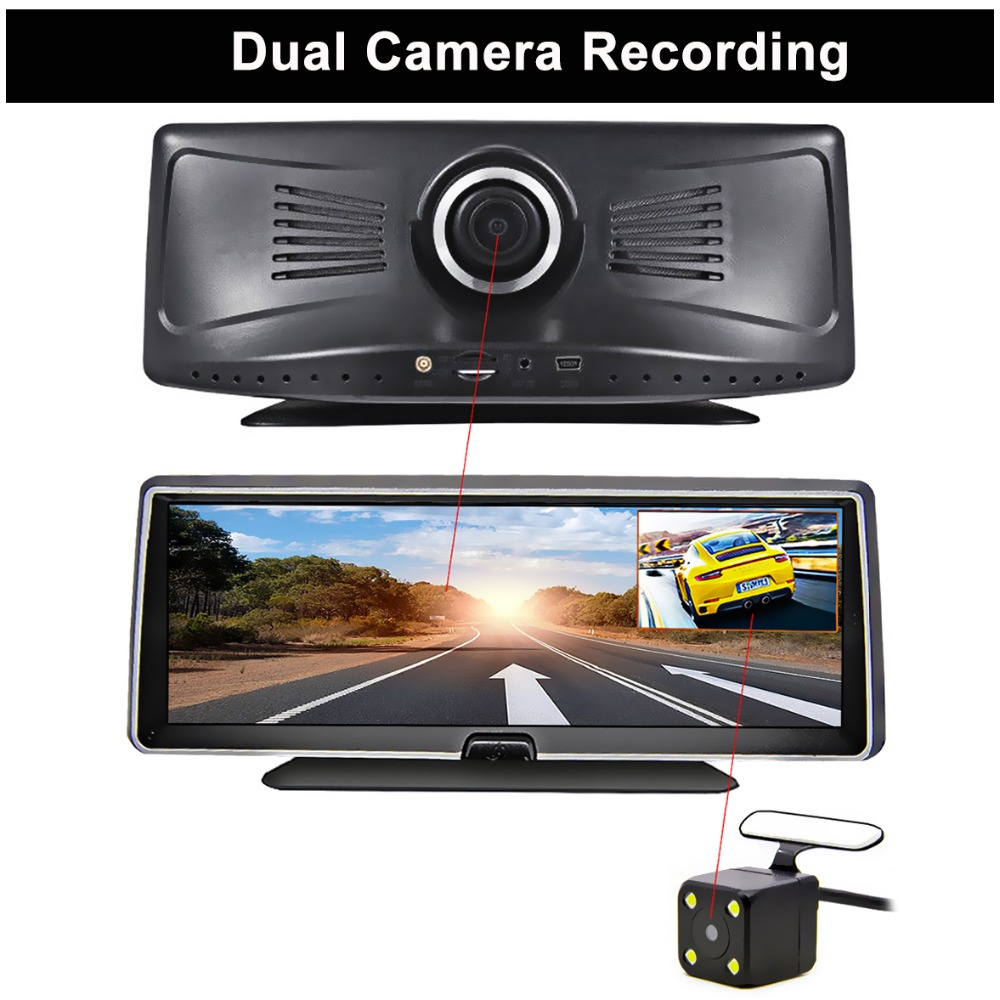 Bluavido 4G android dvr 8 inch screen car video camera gps navigation Full HD 1080P dash cam registrator recorder remote monitor