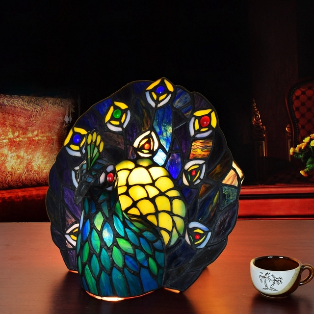 European Style Tiffany Art Glass Peacock Table Lamp Thai Phoenix Bar