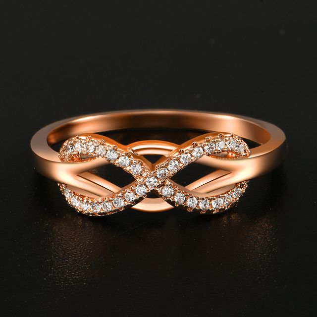 KNOCK high quality Fashion Micro Inlayed Cross Rings For Women Wedding Cubic Zircon CZ Crystal Ring Rose Gold Color 4