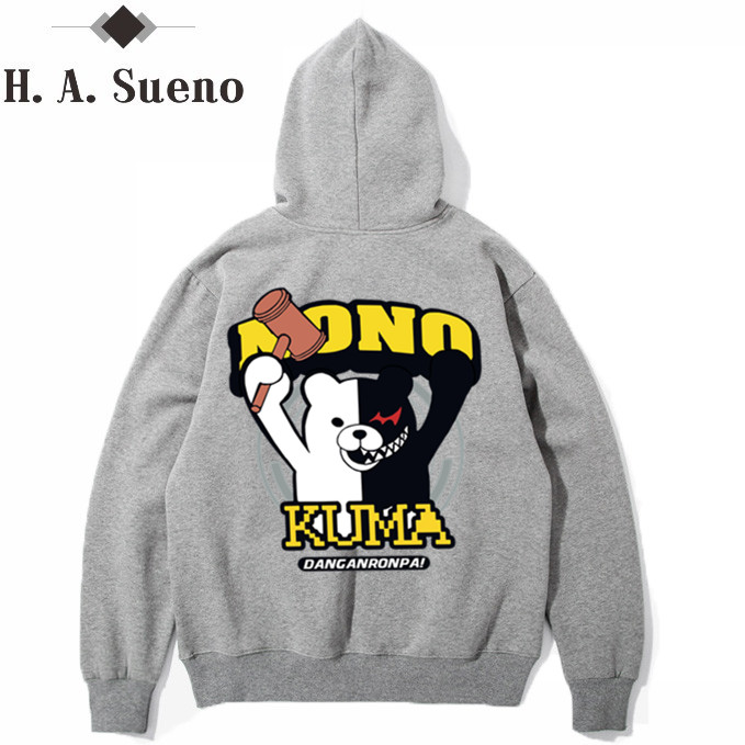 H.A. Sueno 2017 Sweatshirts Tracksuit Men Fashion Hip Hop Hoodies Pullover Sweat Shirt carton bear Print Men Women
