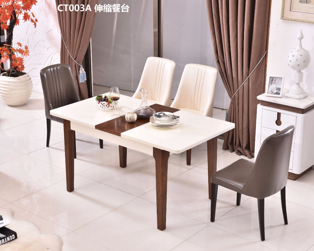 CT003A Tempered glass surface solid wood frame with folding function modern living room furniture dining table ...
