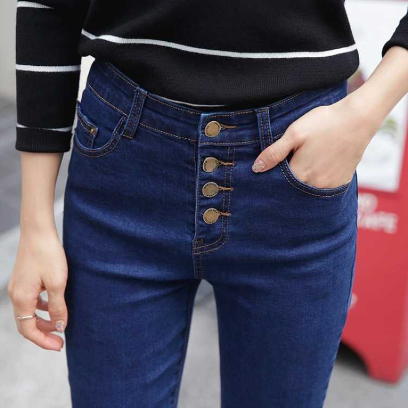 2019 High Waisted Women Skinny Pencil   Jeans   For Women Denim Blue Slim Ladies Push Up Stretch   Jeans   Black Trousers
