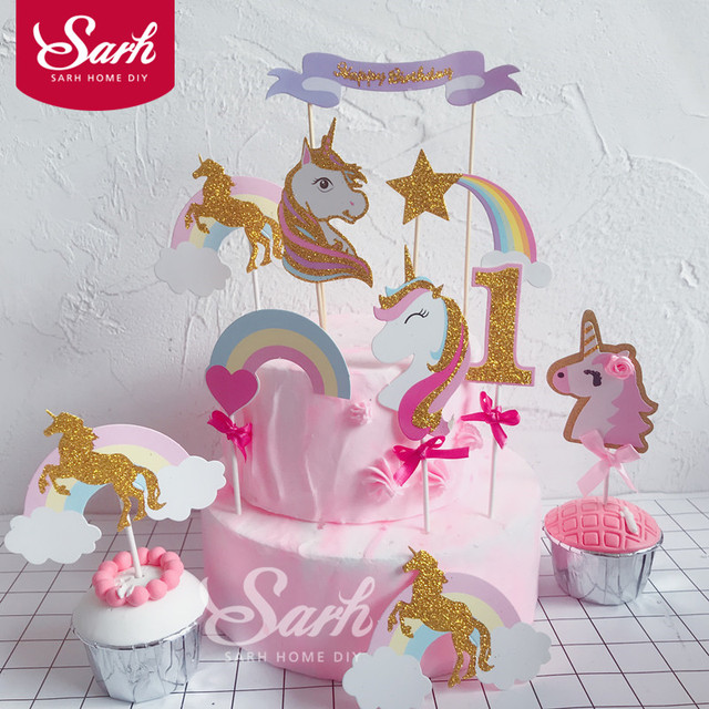 Biling Gold Pink Purple Unicorn Rainbow Meteor Cloud Collection Cake Topper For Party Decoration Dessert Lovely
