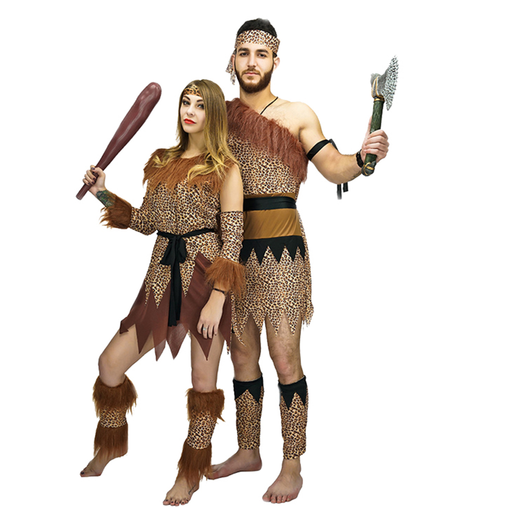 Adult Men Women Jungle Caveman Wildman Cosplay Carnival Costumes Stone Age Stag Halloween Costume Female Party as the Croods leggings