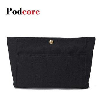 цена на Canvas Purse Organizer Insert, Felt Bag organizer with Hasp, Handbag & Tote Shaper,Cosmetic Bag for Women, 27*15*9cm, Black