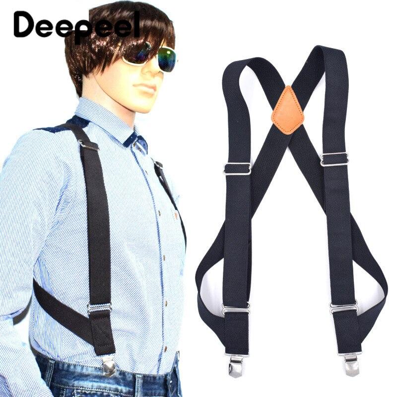 Deepeel 1pc 3.5X125cm Men 2 Clip Suspenders Adult Solid Color Casual Outdoor Elastic Adjustable Suspenders Jeans Strap SP030