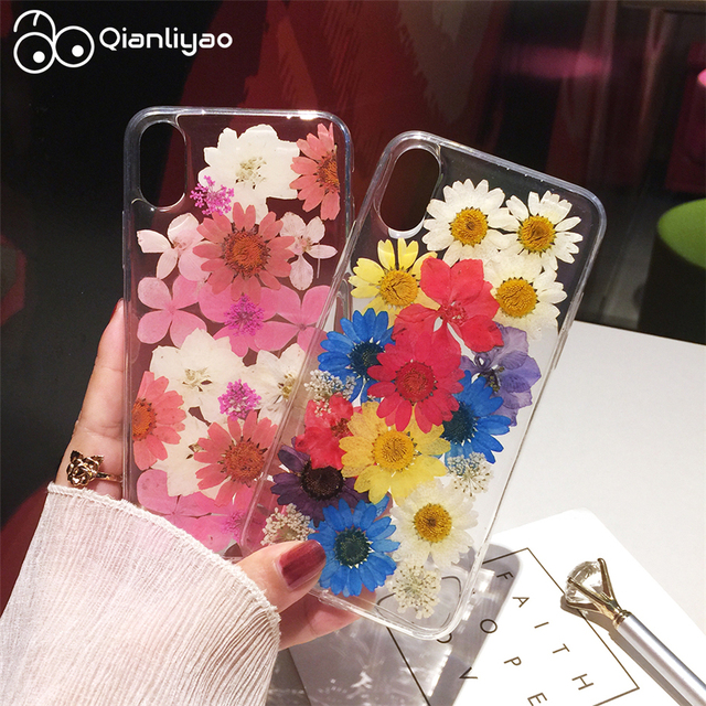 295eaefee45231 Qianliyao Dried Real Flower Handmade Clear Pressed Phone Case For iPhone 6  6S 7 8 Plus X XS Max XR Case Soft TPU Back Cover Capa