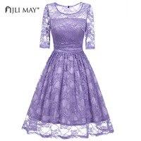 JLI MOŻE Kobiety koronka sukienka jasny fiolet stałe szczupła o-neck midi połowa rękawem urząd lady christmas elegant wedding party suknie