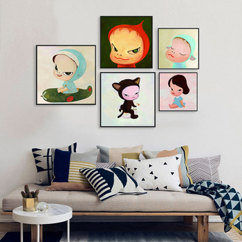 Yoshitomo Nara Cartoon Canvas Poster Picture Sleepwalking Doll Drawing Japanese Painting Prints For Baby Kids Room Decor image