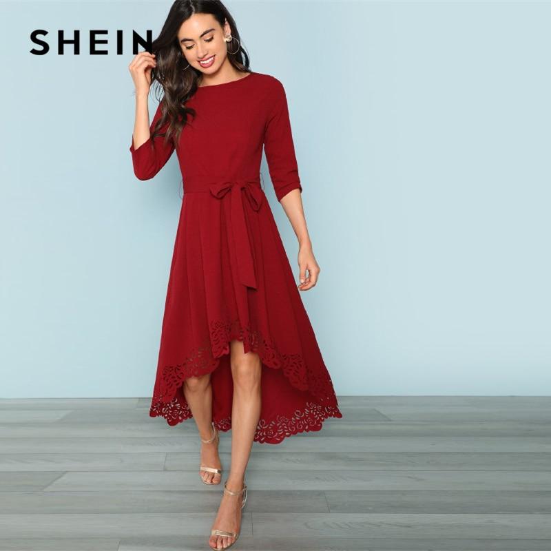 4b810fe701d Detail Feedback Questions about SHEIN Burgundy Party Laser Cut Dip Hem  Belted High Waist 3 4 Sleeve Solid Asymmetrical Dress 2018 Autumn Elegant  Women ...