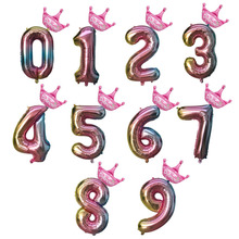 Number Balloons Foil Digit Globos mini Crown Air Figure Ball