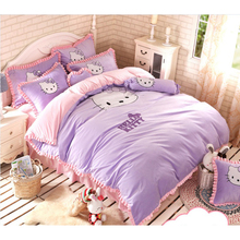 Hello Kitty crib  bedding set  Children 100% pure cotton and Crystal velvet Bed suite High quality cotton baby bed storage bag