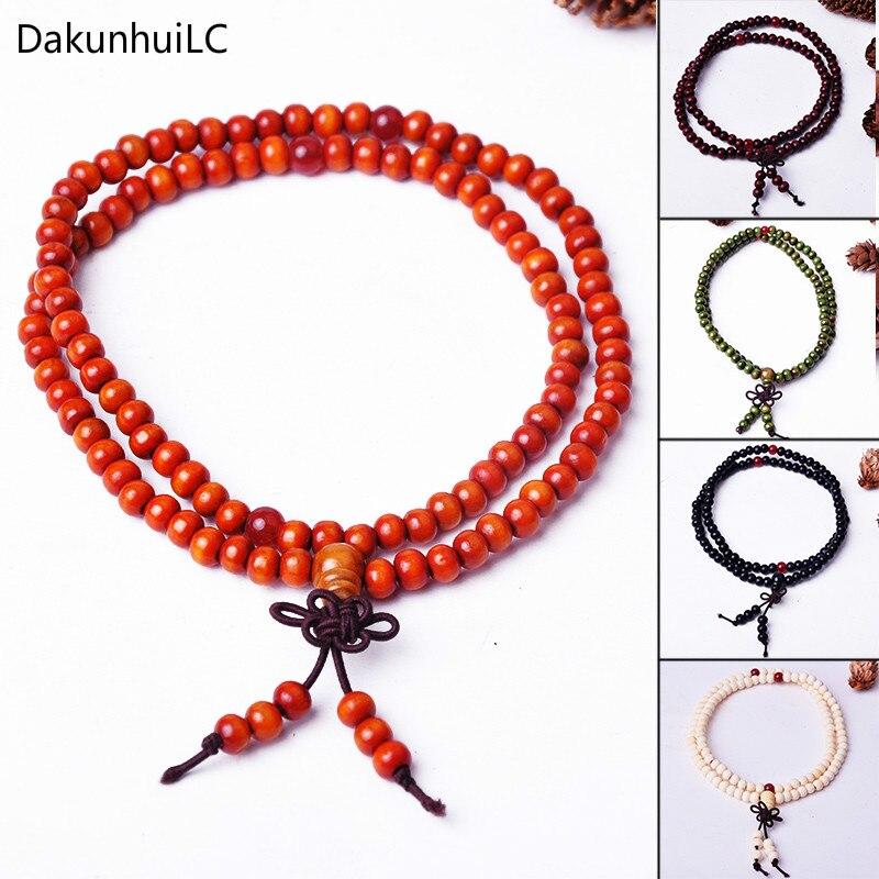 2019 Hot Sale New 6mm Natural Sandalwood Buddhist Buddha Meditation 108 beads Wood Prayer Bead Mala Bracelet Women Men jewelry bead