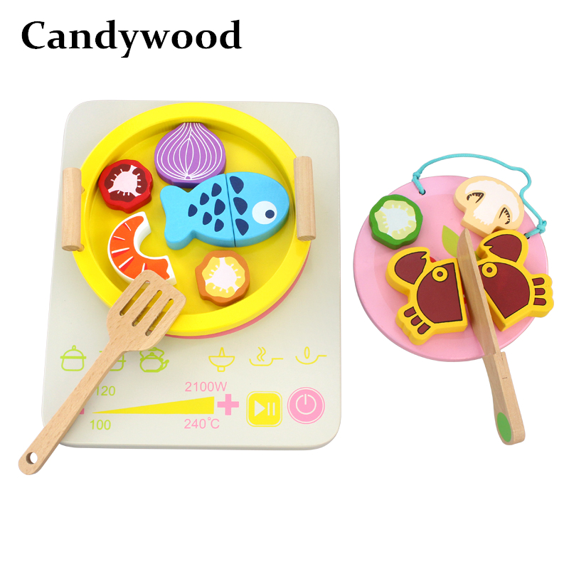 Special Section Candywood Children Kids Pretend Play Simulation Vegetable/fish Hot Pot Play Kitchen Cut Food Cooking Kitchen Toys For Boy Girl Kitchen Toys Pretend Play