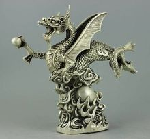 Decorated Handwork Tibet Silver fly dragon Statue