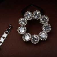 2016 Wedding Brooch Clear Cubic Zirconia Flower Pins Scarves Scarf Buckle Clips Luxury Brooches For Women