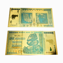 2019 Promotional Gift Zimbabwe 1 Hundred Trillion Dollars Gold Banknote 24K gold Foil Banknotes For Collection