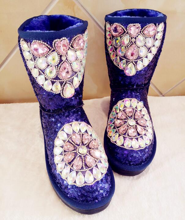 Rhinestone Winter Boots Women Shoes Warm Plush Women Mid calf Boots Thick Sole Platform Snow Boots Bootie Pink Blue Short Boots