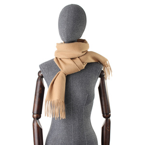 Image 3 - Bufandas de Cachemira de 100% liso para mujer, pañuelo grueso y cálido con borlas, para invierno, gran oferta