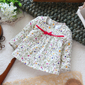 Free shipping Retail new 2013  fashion spring autumn  Baby girl basic shirt top summer kids flower cute long-sleeve T-shirt